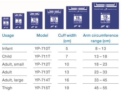 Yawara cuff overview sizes